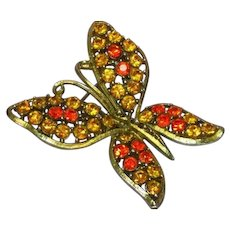 Bright Orange Topaz Rhinestones Butterfly Figural Pin Brooch