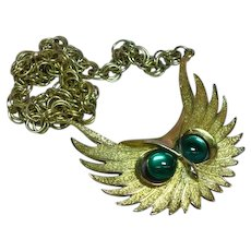Huge Chunky Vintage Stylized Owl Pendant Double Link Chain Necklace