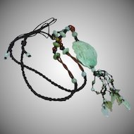 Vintage Chinese Export Nephrite Jade Carved and Pierced Pendant Amulet Knotted Silk Necklace