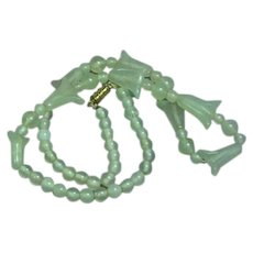 Vintage Chinese Translucent Icy Jadeite Lotus Flower Bead Necklace