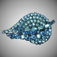 Weiss Unsigned Beauty Multi Layered Pale Blue Rhinestone Pin Brooch