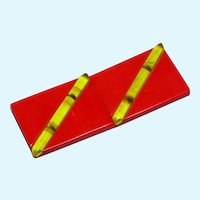 Wonderful Vintage Large Red Bakelite Belt Buckle Set