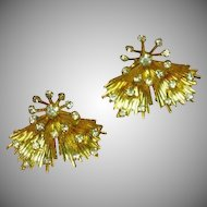 Emmons Signed Designer Rhinestones Elegant Vintage Clip Earrings