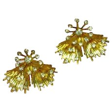 Emmons Signed Designer Rhinestones Elegant Vintage Clip Earrings