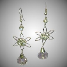 Rhinestones CZ Silver Plate Faceted Crystal Dangle Long Bling Shoulder Duster Pierced Earrings