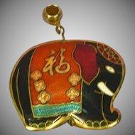 Cloisonne Guilloche Enamel Black Peach Teal White Red Gilt Republican Political Elephant Necklace Pendant