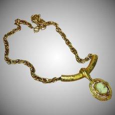 Cameo Hand-Carved Unique Ornate Bold Slider Pendant Necklace