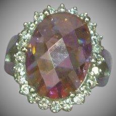 Sterling Silver Rhodium Plate Cushion Cut Pink Zirconia Diamonique Ring