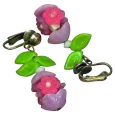 Fantastic Lucite Plastic Flowers Long Dangle Clip Earrings
