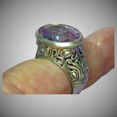 Stunning Sterling Silver Amethyst Crystal High Set Ornate Ring