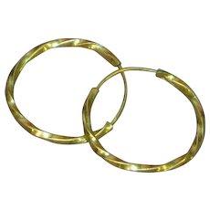 14K Gold- Filled Twisted Wire Design Hoop Pierced Earrings