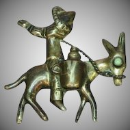 Mexican Mexico Sterling Silver Vintage Mexican Man Donkey & Sombrero Pin Brooch