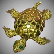 Monet Turtle Bright Shiny Gold-tone Rhinestones Eyes Figural Pin Brooch