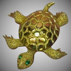 Monet Turtle Bright Shiny Gold-tone Rhinestones Eyes Figural Pin Brooch