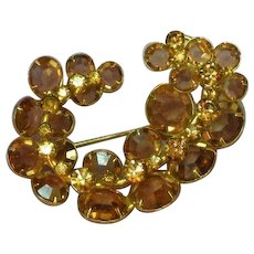 Kramer Signed Designer Topaz and Light Colorado Topaz Crystals Pin Brooch