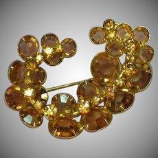 Kramer Signed Designer Topaz and Light Colorado Topaz Crystals Pin Brooch