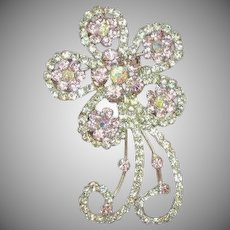 Rhinestones Pretty in Pink Flower with A/B Silver Plated Brooch Pin