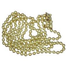 KJL © Signed Designer Double Strand Opera Length Golden Glass Pearls Necklace