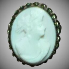 Coral Angel Skin Carved Cameo Wonderful Gold Filled Detailed Frame Brooch Pin Pendant