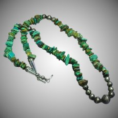 Native American Indian Turquoise Nugget Sterling Silver Old Bench Bead Necklace