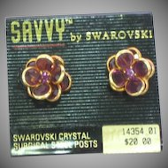 Swarovski Signed Designer Deep Purple  Bezel Set Crystal  Cluster and Rhinestone Pierced MOC Post Earrings