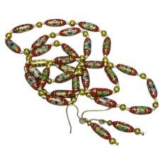 Rare Art Deco Chinese Cloisonne Enamel Metal Bead Necklace Pierced Earrings Set Demi Parure