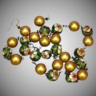 Art Deco Chinese Cloisonne  Bead  Gold Balls Necklace Pierced Earrings Set Demi Parure