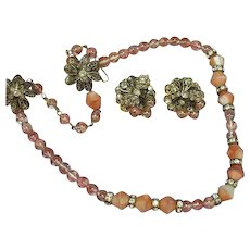 Gablonz  Murano Glass Beaded Necklace Clip Earring Set Demi Parure