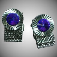 Mid Century Purple Blue Glass Rivoli Stone Mesh Wrap Cufflinks