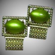 Swank Signed Designer Vintage Green Moonglow Mesh Cuff-links Cufflinks