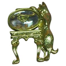 Mischievous Cat Kitty Gold Fish Jelly Belly Bowl Rare Pin Brooch