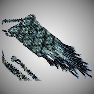 Unique Art Deco Beaded Woven Glass Seed Bead Black & Silver Pouch Sautoir Necklace