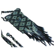 Unique Art Deco Beaded Woven Glass Seed Bead Black  Silver Pouch Sautoir Necklace