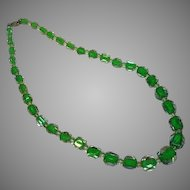 Awesome Art Glass Green Cased Glass and Rock Crystal Bead Necklace