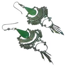 Vintage Green Glass Peruvian Gypsy Tribal Silver tone Long Dangle Pierced Earrings