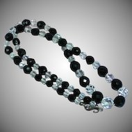 Stunning Vintage Art Deco Rock Crystal and Black Onyx Faceted Bead Necklace