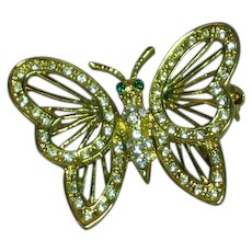 GE W-Lind Designer Signed Rhinestone Butterfly Figural Pin Brooch