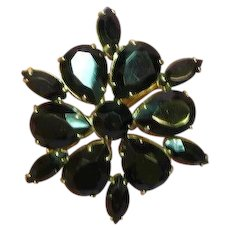 Rhinestones Black Glass Massive Gold Plate Pin Brooch
