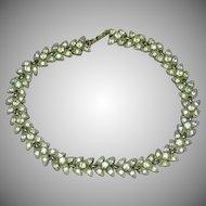Bogoff Signed Designer Lavish Rhinestones Heavy Rhodium Plate Art Deco Wedding Bridal Vintage Necklace