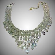 Vendome Designer BOOK PIECE Drippy Faceted A/B Crystal Bib Necklace