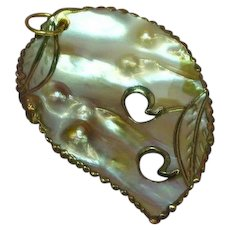 Pearl Carved and Cut Out Natural Blister Pearl Leaf Shape Necklace Pendant