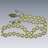 Majorica Majorca Spain Simulated Pearl Hand Knotted Single Strand  Princess Length Strand Necklace