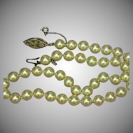 Majorica Majorca Spain Simulated Pearl Hand Knotted Single Strand  Princess Length Strand Necklace