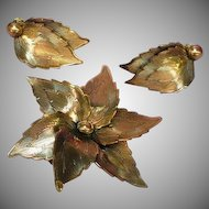 Copper Burnished Flower Leaf Pin Brooch Clip Earrings Set Demi Parure