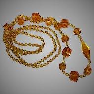 Art Deco Amber Glass Crystal Bead Crystal Sautoir Flapper Necklace Czech Handmade