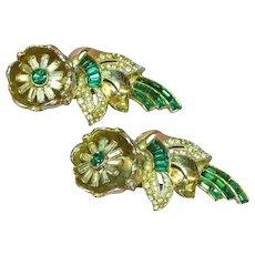 Coro Verrecchio Signed Designer Quivering Camellias Tremblant Trembler Fur Dress Coat Clips Duet c.1938