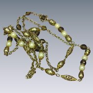 Smoky Quartz Crystal Peacock Color Cultured Pearls Golden Green Sautoir Flapper Necklace
