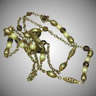 Smoky Quartz Crystal Peacock Color Cultured Pearls Golden Green Sautoir Flapper Necklace