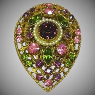 Florenza Designer Signed Epic Purple Pink And Green Rhinestone Vintage Large Pin Brooch