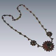 Magnificent Czech Republic Bohemian Genuine Rose Cut Garnet Festoon Necklace